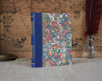 Leather hardcover journal, blue leather bound notebook, small journal, marble paper journal