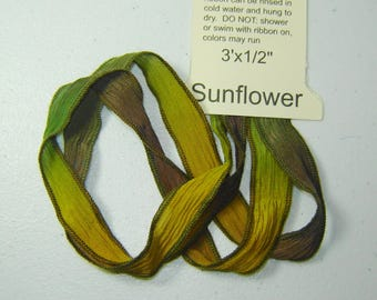 """Silk Ribbon Ties, SUNFLOWER, Handmade & Hand-dyed 1/2""""x 36"""" long, Necklaces, Wrap Bracelets, Embellishments, Hair Ties, Embroidery"""
