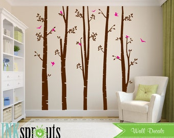 Birch Decal with Birds Large set, Birch decal, birch tree set, Birch forest, Modern Nursery, Nursery decals, Baby Decals, Baby Shower