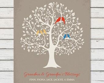 FAMILY TREE GIFT for Grandparents, Family Tree Print for Grandparents, Family Tree with Grandkids Names, Grandchildren Family Tree