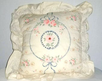 Vintage Shabby Chic Throw Pillow,Pink and Blue Floral Pillow,Needlework Pillow,Nursery Pillow,Needlepoint,Decorative Pillow,Shabby, Kitschy