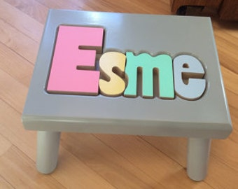 "Gray Name Puzzle Stools  (""FREE"" Shipping) (Put Child's Name in Notes to Seller on Checkout Page)"