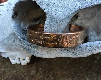 Bronze and Copper Textured Cuff