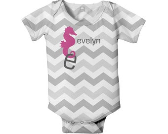 Seahorse Chevron Bodysuit, Personalized Baby Girl One-Piece Outfit
