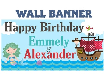 Pirate & Mermaid Personalized Banner, Large Birthday Banner - Printed Birthday Banner, Vinyl Birthday Banner