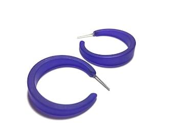 Cobalt Blue Hoop Earrings | Bottle Blue Lola Hoops | frosted tapered lucite hoop earrings