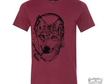 Men's WOLF (in Headphones) t shirt s m l xl xxl (+ Color Options) Zen Threads screen printed custom