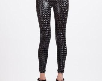 Mind Melting Black Holographic Vinyl Leather Look Super High Waisted Leggings