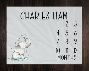 Elephant Milestone Blanket Monthly Baby Growth Tracker Minky Fleece Blanket Baby Shower Newborn Gift For Baby Gender Neutral Baby Boy