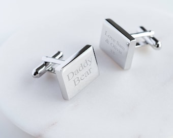 Rectangular Personalized Cufflinks, Polished Cufflinks in Personalized Gift Box