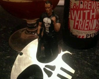 Punisher bottle opener stainless steel - Skull Keychain.
