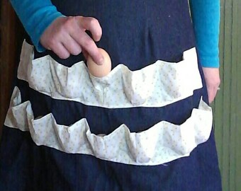 Vintage Inspired Egg Gathering  Apron- 100% Cotton Denim & Baby Chick Print. Made from a 1940's Retro Pattern!