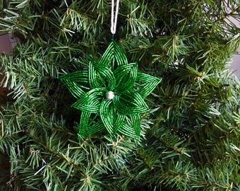 Shining Emerald Green Layered French Beaded Flower Christmas Ornament