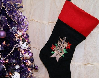 Jingle Bell Rock Guitar Embroidered Black Stocking MTCoffinz - Add a Name Option
