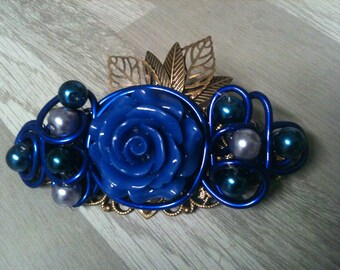 8 cm-large bronze flower barrette wedding/marriage/barrette flower barrette blue /barrette /blue bridal hair clip