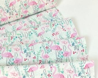 Life's A Beach Let's Flamingle Flamingos White Color, Dear Stella Designs, Cotton Quilt Fabric