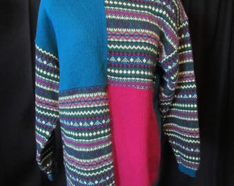 1980's sweater (one size), vintage, shoulder pads, Peggy's, long sweater, long sleeves, color block sweater, ski sweater, tunic sweater