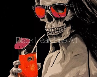 Pool Party Massacre Skeleton Pin Up Original Oil Painting Print 8x10