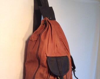 Backpack bag, leather backpack,large, leather back pack, brown, black , Bikers Bag