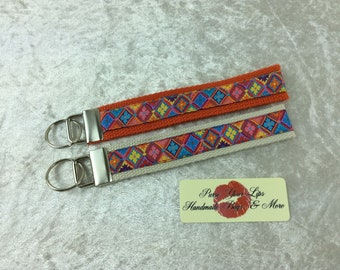 Harlequin Key Fob Wristlet Key Ring Chain Wrist Strap Lanyard Wedding Favours