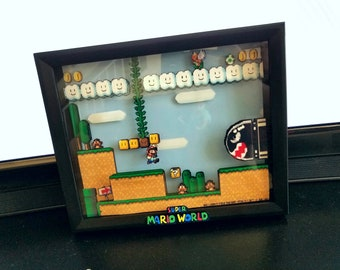 Mario classic Nintendo 3d shadow box wall art