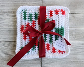 New Handmade Crochet Set of 2 Double Layer Cotton Christmas Pot Holders Hot Pads - Ready to ship
