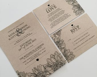 Printable Wedding Invitation Set | Wedding Invite | Printable Wedding Invite | Rustic Flower Design