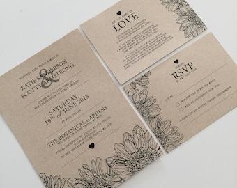Printable Wedding Invitation Set   Wedding Invite   Printable Wedding Invite   Rustic Flower Design