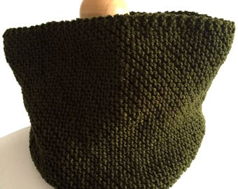 Cowl hand knitted vegan scarf green