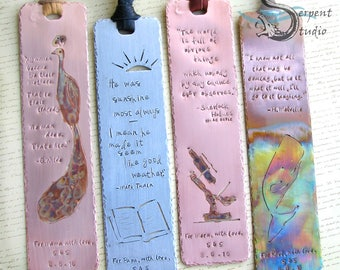 The Hardcover Bookmark - CUSTOM, COPPER, personalized, handmade, stamped, large size, metal, quote, name, cutout, art