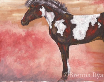Original Acrylic Horse Painting - Canvas Paper
