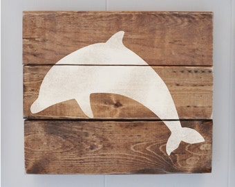 Beach Decor Sign, Coastal Decor, Beach House, Beach Wedding Decoration, Vintage Wall Decor, Dolphin