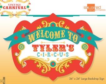 Circus Birthday Backdrop - Party Printable Sign - DIY Print - Original Colors - Vintage Carnival Party Sign