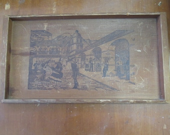 """Vintage California Redwood tray with Spanish town scene measures 14"""" x 8"""""""