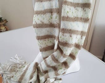 Cream light brown scarf double thickness scarf winter warmer gift for her cream light brown scarf flecked