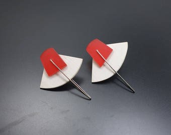 Vintage Osato Earrings Artisan Designed Pierced Earrings Bold Geometric Kinetic Design Signed by the Artist and Dated 1986