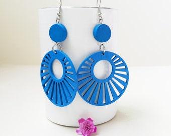 Buy 3 get 1 Free///BLUE Long Circle Wooden Earring