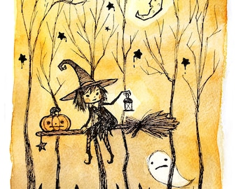 Creepy Witch and Ghost Watercolor Art Print
