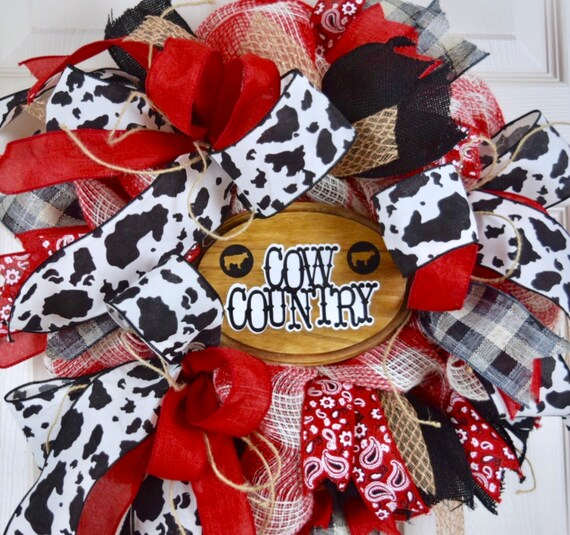 Cow Country Red White and Burlap Mesh Wreath; Country Decor; Farm Decor Wreath; Western Decor; Country Rustic Red Black White Decor Wreath