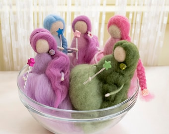 Set of five fairies pink purple green blue wool fairy needle felted waldorf inspired from tails fairy with wand long-haired felted doll