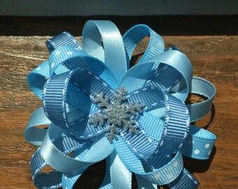 Winter/Frozen inspired hair bow
