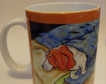 25% off beagle art - beagle sleeping dog art mug cup 11 oz gift - beagle gifts