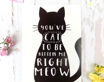 Cat Pun Postcard, Funny Cat Gift, Cat Stationary