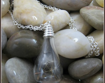 "Teardrop Dandelion Seed Pendant on 24"" Chain"
