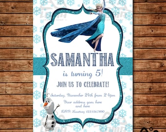 Frozen Birthday Invitation, Frozen Birthday, Disney Princess Invitation, Princess Birthday Invitation, Anna and Elsa