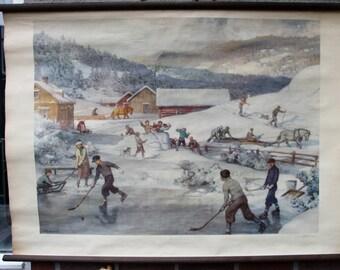 Vintage  Pull Down Chart  Winter  ice hockey School Chart