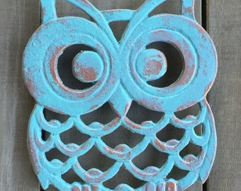 Owl Trivet, Cast Iron Copper Verde Aqua Patina, Cottage Kitchen Dining Decor