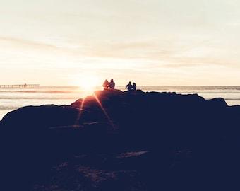 Beach Photography, Modern Beach Decor, Sunset, Couple, Romantic, Love, Apartment Artwork, Ocean, Beach Landscape, Large Wall Art