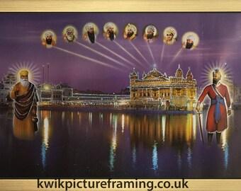 Harmandir Sahib Golden Temple Punjab India With Ten Gurus In Size – 20″ X 14″ Inches
