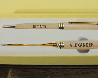 Pen and Letter Opener Set/Wood/Engraved/Valentine Gift/Gift for Him/Anniversary/5th/Wood Anniversary/Personalized